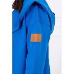 Cardigan lung din bumbac albastru asimetric