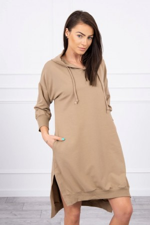 Rochie tip hanorac din bumbac Camel