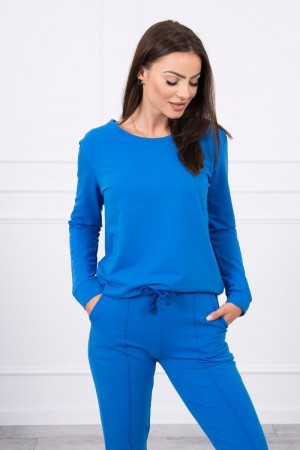 Trening dama casual albastru din doua piese cu pantaloni