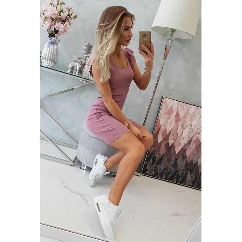 Rochie sport de vara roz cu volane pe maneca