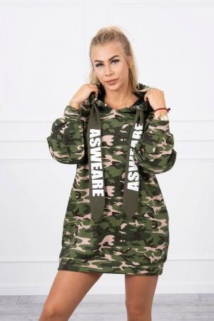 Rochie tip hanorac cu imprimeu army 9107-2