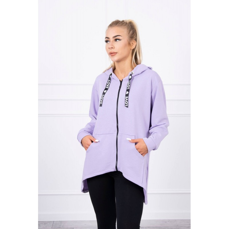 Cardigan dama violet casual-sport cu gluga