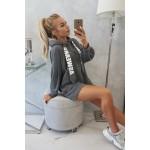 Rochie sport tip hanorac gri-inchis cu buzunar la spate
