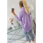 Cardigan de dama gros cu fermoar violet