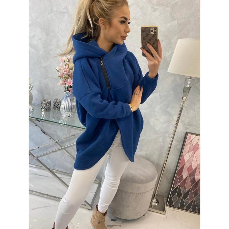 Cardigan de dama toamna bleumarin asimetric