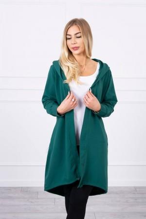 Cardigan primavara-toamna asimetric verde cu gluga