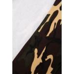 Hanorac asimetric cu imprimeu camuflaj maro