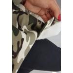 Hanorac asimetric cu imprimeu camuflaj kaki-ecru