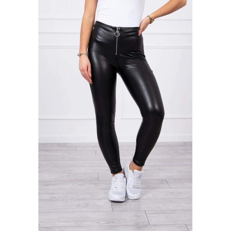 Pantaloni de dama negri din piele ecologica