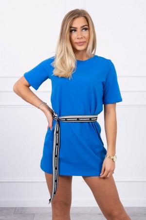 Rochie casual sport mini albastra cu cordon in talie