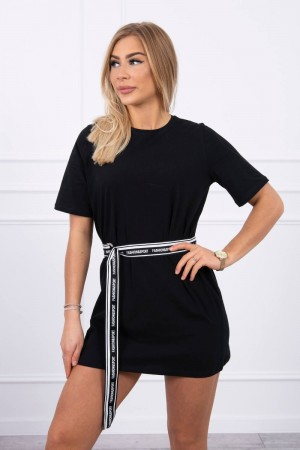 Rochie sport-casual neagra mini cu cordon in talie
