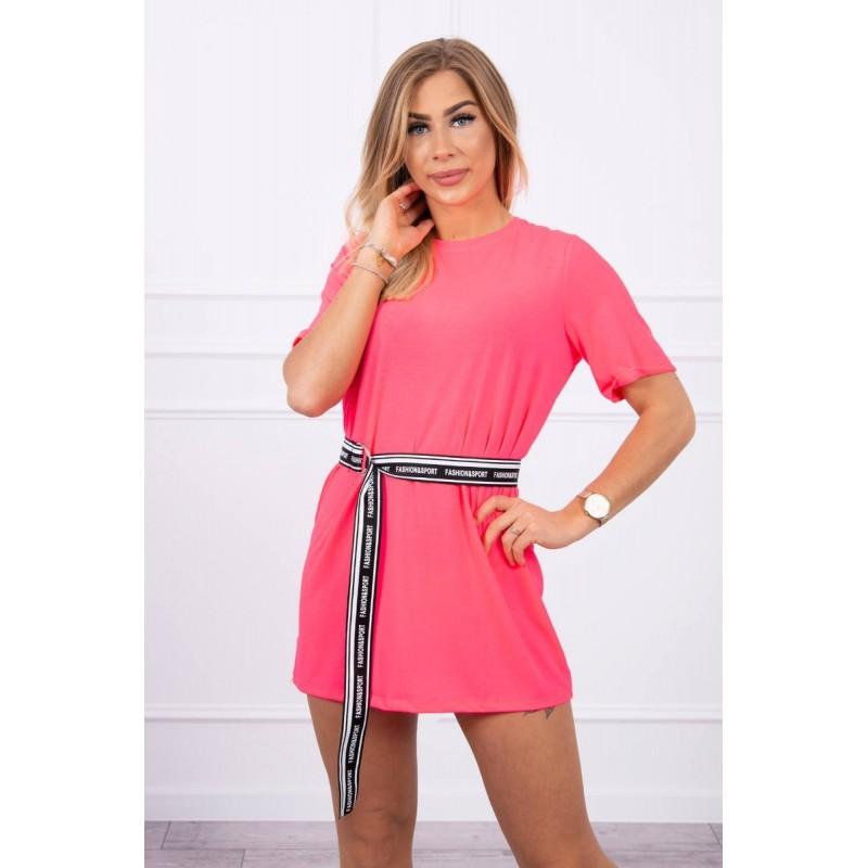 Rochie sport-casual neon roz mini cu cordon in talie