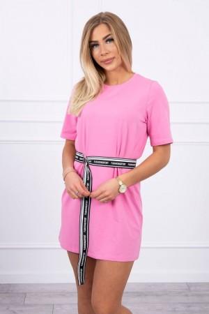 Rochie casual sport roz-deschis mini cu cordon in talie