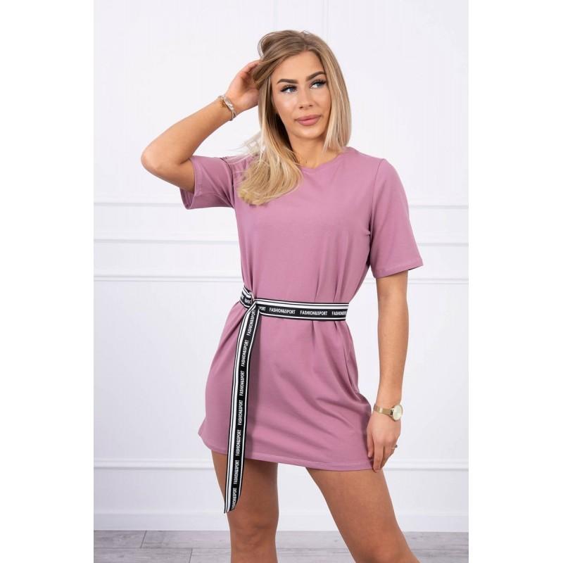 Rochie casual sport roz-inchis mini cu cordon in talie