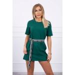 Rochie verde casual sport mini cu cordon in talie