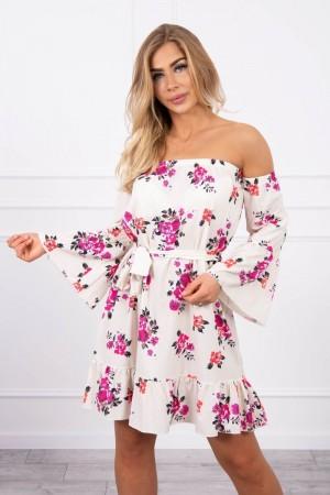 Rochie cu model floral de zi si maneci evazate alba