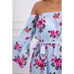 Rochie cu model floral de zi si maneci evazate blue
