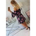 Rochie cu model floral de zi si maneci evazate neagra