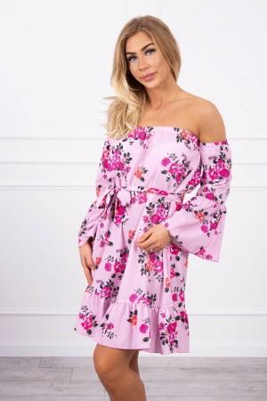 Rochie cu model floral de zi si maneci evazate violet