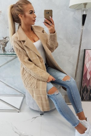 Cardigan tip palton cu maneci tricotate bej