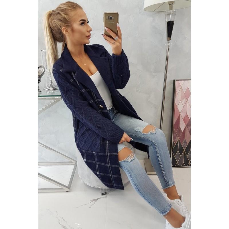 Cardigan tip palton cu maneci tricotate bleumarin