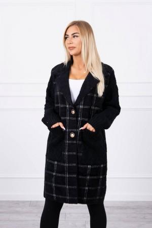 Cardigan tip palton cu maneci tricotate negru