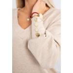 Pulover dama bej cu butoni decorativi