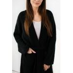 Cardigan dama negru cu cordon in talie
