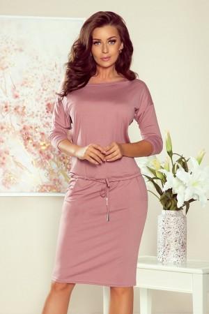 Rochie din vascoza roz si snur elastic in talie