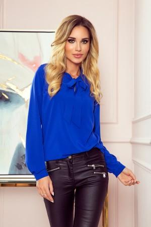 Bluza dama office eleganta albastru cu funda decorativa