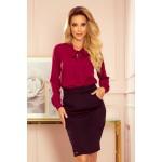 Bluza dama office eleganta bordo cu funda decorativa