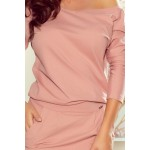 Rochie de zi cu maneca lunga roz buzunare laterale