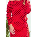 Rochie de zi rosie Numoco cu buline negre
