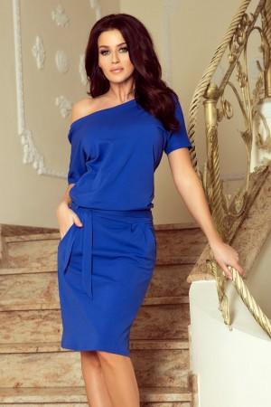 Rochie de zi cu maneca scurta din material subtire albastra