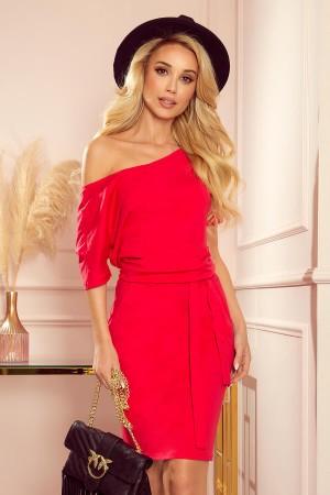 Rochie de zi cu maneca scurta din material subtire rosie