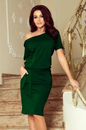 Rochie de zi cu maneca scurta din material subtire verde