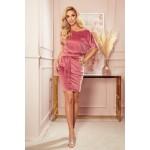 Rochie din catifea cu maneca scurta roz