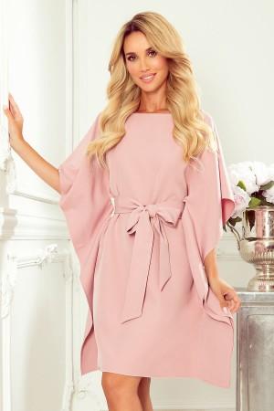 Rochie tip fluture roz cu cordon in talie