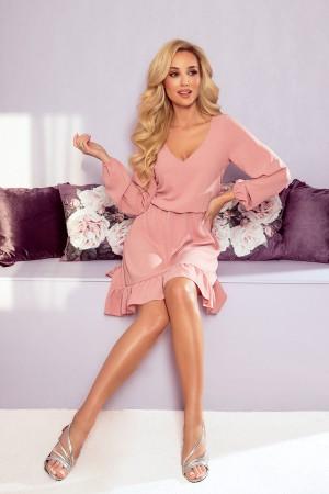 Rochie confortabila roz cu maneci lungi