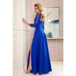 Rochie albastra lunga de seara cu maneci dantelate