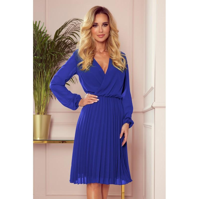 Rochie albastra plisata eleganta cu maneci lungi