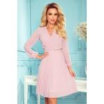 Rochie roz-inchis plisata eleganta cu maneci lungi