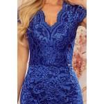 Rochie albastra din dantela eleganta cu decolteu