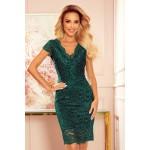 Rochie verde din dantela eleganta cu decolteu
