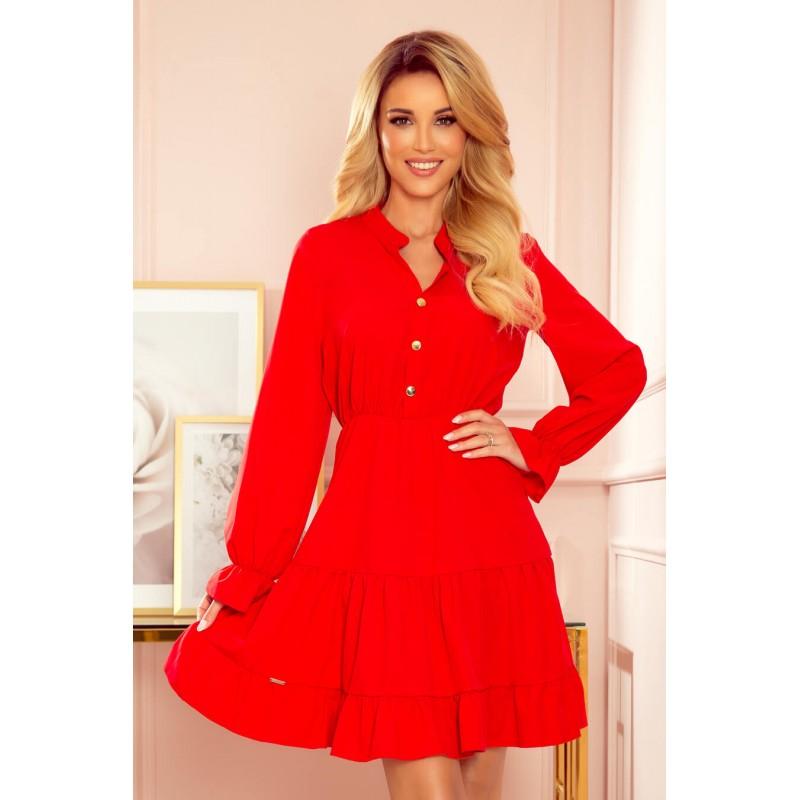 Rochie rosie cu maneci lungi si butoni decorativi