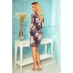 Rochie de zi cu imprimeu floral si maneci trei sferturi