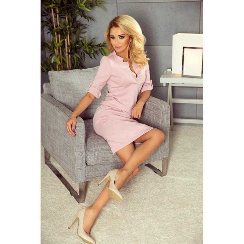 Rochie roz cu guler lungime medie si decolteu in V