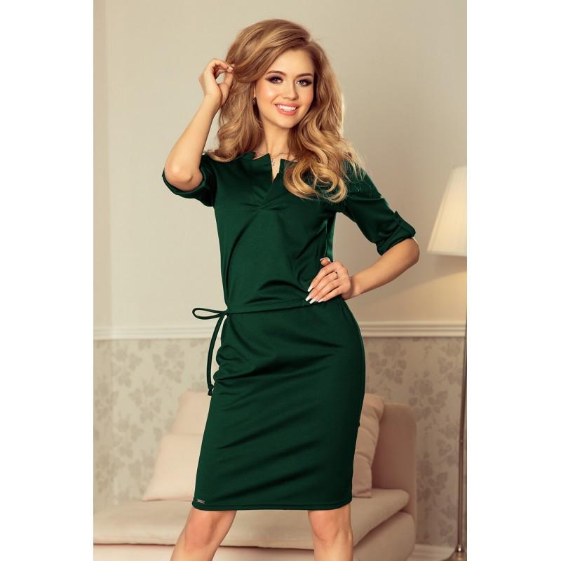 Rochie de zi verde cu guler lungime medie
