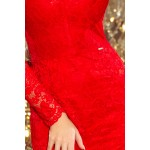Rochie din dantela rosie cu decolteu si maneci lungi