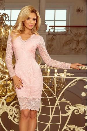 Rochie din dantela roz-pastel cu decolteu si maneci lungi